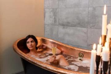 woman soaks bath