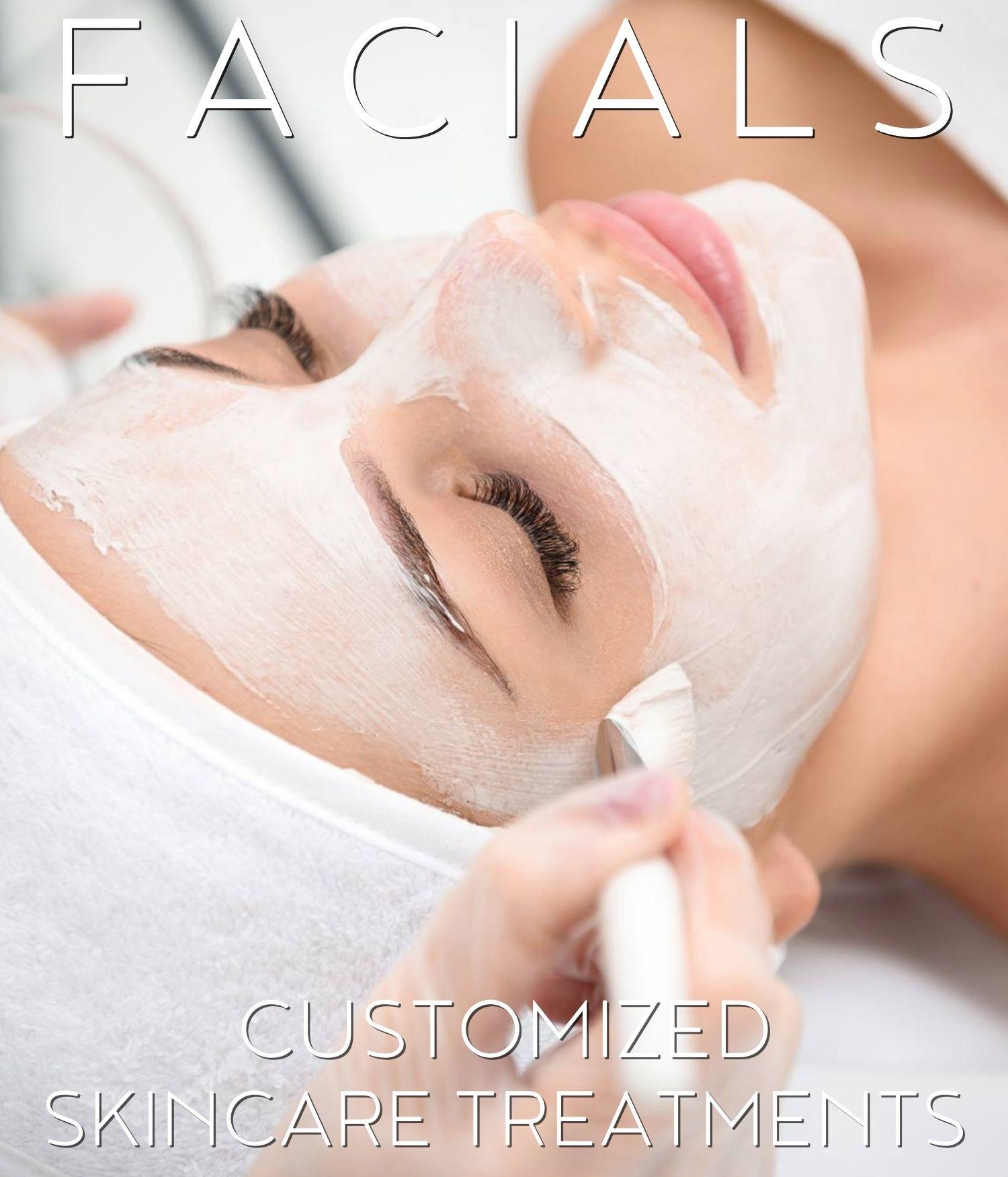 woman having facials treatment promoting customized skincare