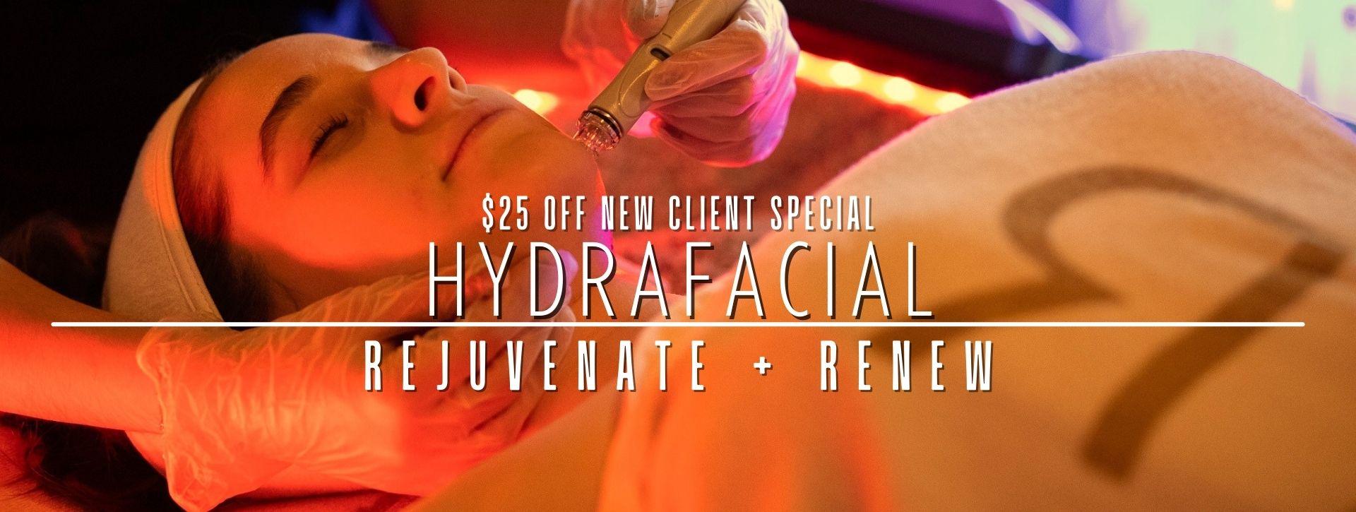 woman having a hydrafacial treatment promoting rejuvenate + renew